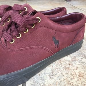 🏇 Polo Ralph Lauren Burgundy Suede Shoes